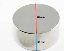 Неодимовый постоянный магнит 70х30 (70 30) имеет силу 150 кг на разрыв от металла. Польша. Тип - диск (шайба)