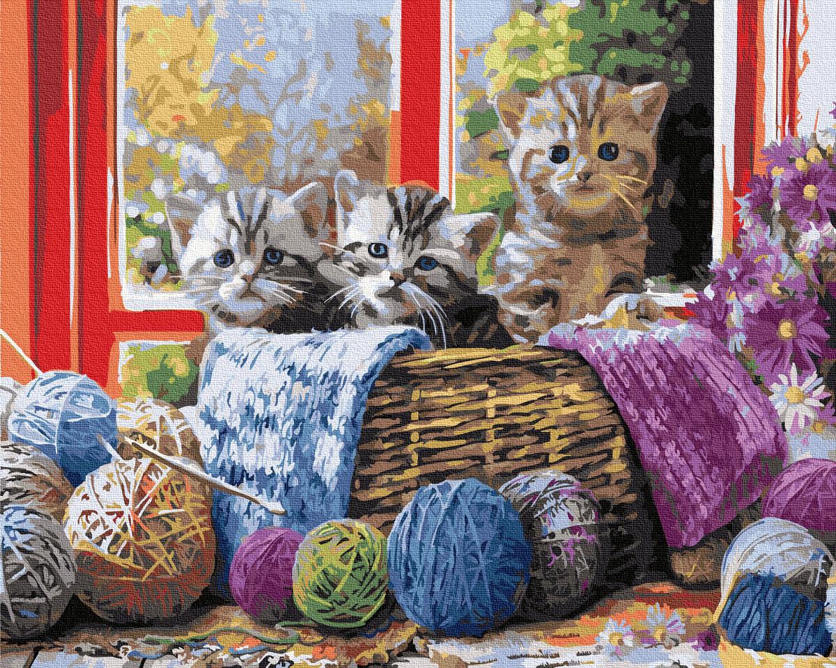 Картина по Номерам Котята в корзинке 40х50см RainbowArt