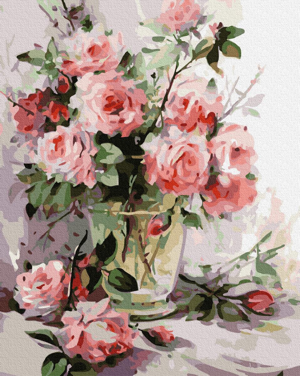 Картина по Номерам Прозрачная ваза с розами 40х50см RainbowArt