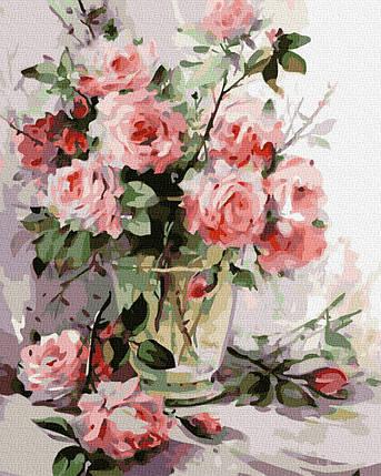 Картина по Номерам Прозрачная ваза с розами 40х50см RainbowArt, фото 2