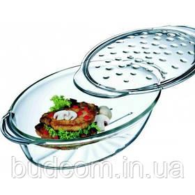 Форма овальная (гусятница) 4.4л (3л+1.4л) из жаропрочного стекла с рифлёной крышкой, Simax Classic