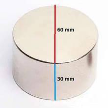 Неодимовый постоянный магнит Польша  60х30 (60 30) сила 120 кг на разрыв от метала