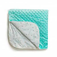 Детский хлопковый плед для кроватки Twins Dolce Minky осень, 80x80 см, мятный. Подарок на выписку из роддома