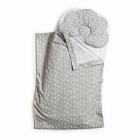Детский набор в коляску Twins плед, подушка, простынь 100% хлопок, серый. Подарок на выписку из роддома