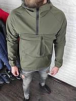 Ветровка мужская UNO весенняя осенняя хаки | Куртка мужская демисезонная оливковая Анорак ЛЮКС качества