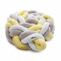 Защитный бампер косичка Twins 3-х прядная двойная, 200 см в детскую кроватку, желтая