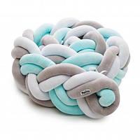 Защитный бампер косичка в детскую кроватку Twins 3-х прядная, двойная 200 см, мятный
