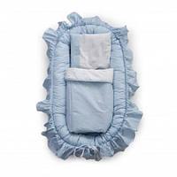 Детский набор для сна кокон позиционер, плед с подушкой для новорожденных Twins Insta, 80х42 см, голубой