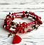 Браслет пружина красный из сердолика, красной яшмы, тигрового  глаза и декоративных бусин, фото 2