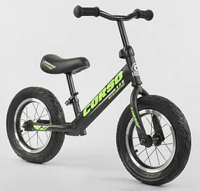 """Велобег Corso 36906 стальная рама. Надувные колеса 12"""" . Черно-салатовый"""