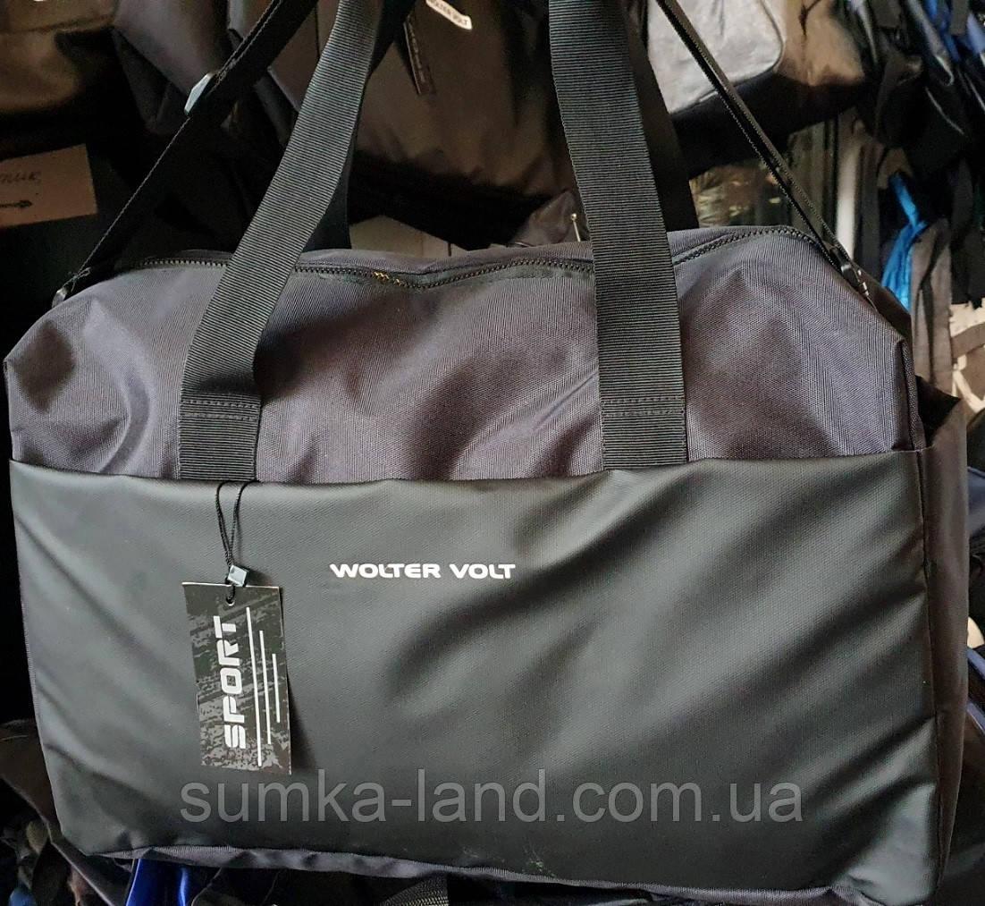 Дорожная спортивная черная сумка хорошего качества 50*30 см