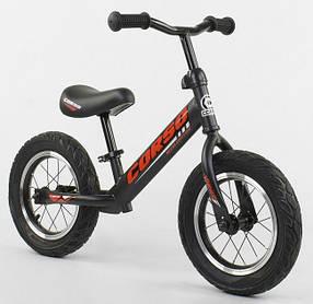 """Велобег Corso 42812 стальная рама. Надувные колеса 12"""" . Черно-красный"""