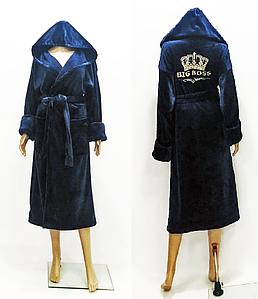 Мужской махровый халат темно-синего цвета с вышивкой короны 48-58 р Big Boss