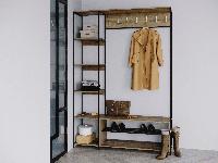 Прихожая лофт черный Rimos вешалка, лавка + стеллаж, передпокій в стилі loft