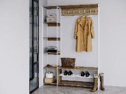 Передпокій лофт білий Rimos вішалка, лавка + стелаж, передпокій в стилі loft