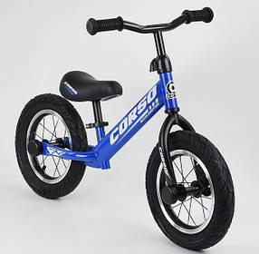 """Велобег Corso 55408 стальная рама. Надувные колеса 12"""". Алюминиевые диски. Синий"""