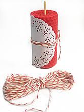 Шпагат хлопок, декоративный шнур, цветная веревка цвет бело-красный для декора и упаковки.
