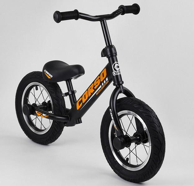 """Велобег Corso 69280 стальная рама. Надувные колеса 12"""". Алюминиевые диски. Черно-оранжевый"""