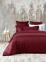 Комплект постельного белья отельный LUX Страйп Сатин Евро комплект цвет Бордовый