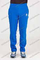 Спортивные штаны прямые теплые синие