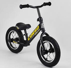 """Велобег Corso 73975 стальная рама. Надувные колеса 12"""". Алюминиевые диски. Черно-желтый"""
