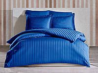Комплект постельного белья отельный LUX Страйп Сатин Семейный 2 пододеяльника цвет Синий
