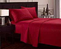 Комплект постельного белья отельный LUX Страйп Сатин Семейный 2 пододеяльника цвет Красный