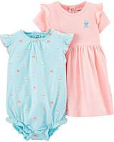 Летний песочник и платье Осьминоги Картерс для девочки (поштучно)