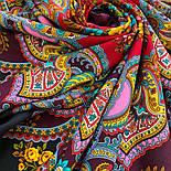Майя 372-24, павлопосадский платок (шаль) из уплотненной шерсти с шелковой вязаной бахромой, фото 7