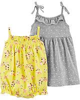 Трикотажный летний песочник и платье Картерс для девочки (поштучно)