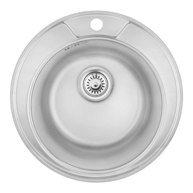 Мойка на кухню металлическая круглая COSH COSH7104P08 490мм x 490мм глянцевая 0,8мм с сифоном 61987