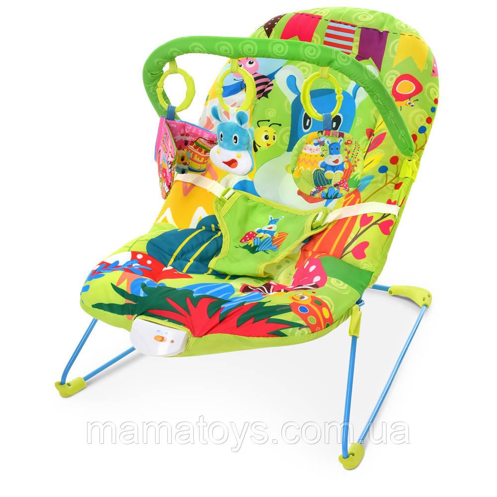 Детский Шезлонг качалка 303-5 Plico Зеленый Музыка, вибро, дуга с подвесками
