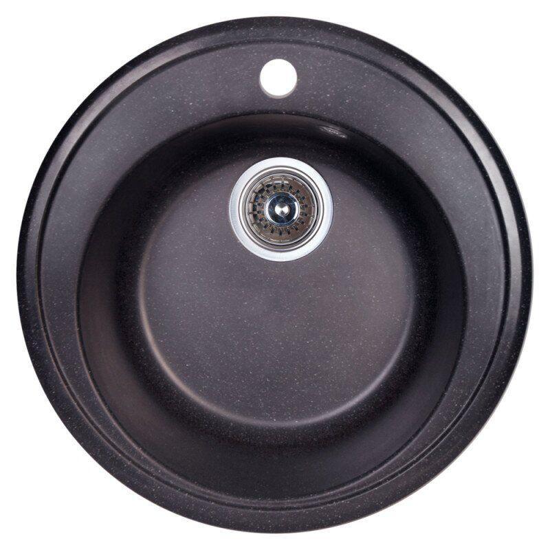 Кухонная мойка керамогранитная круглая COSH D51 COSHD51K420 506мм x 506мм черный с сифоном 62150