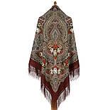 Время песен 1922-1, павлопосадский платок из шерсти с шелковой бахромой, фото 2