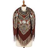 Время песен 1922-1, павлопосадский платок из шерсти с шелковой бахромой, фото 3