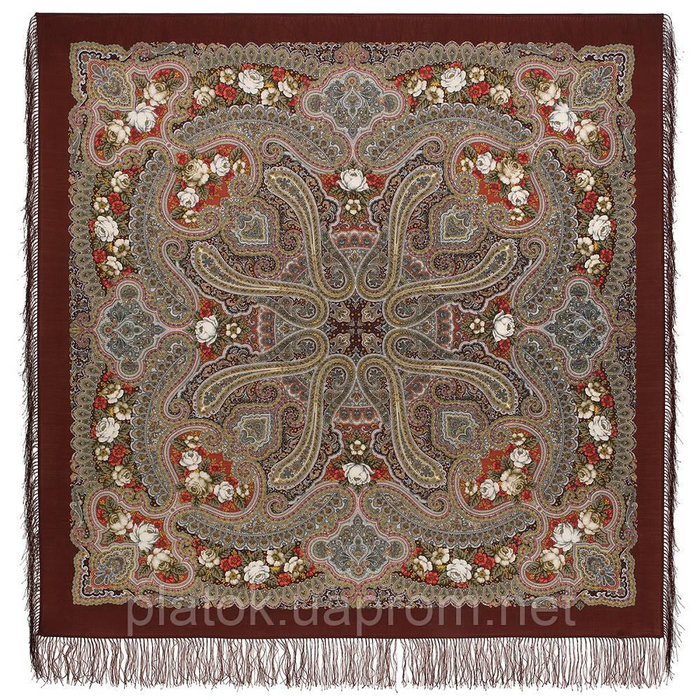 Время песен 1922-1, павлопосадский платок из шерсти с шелковой бахромой