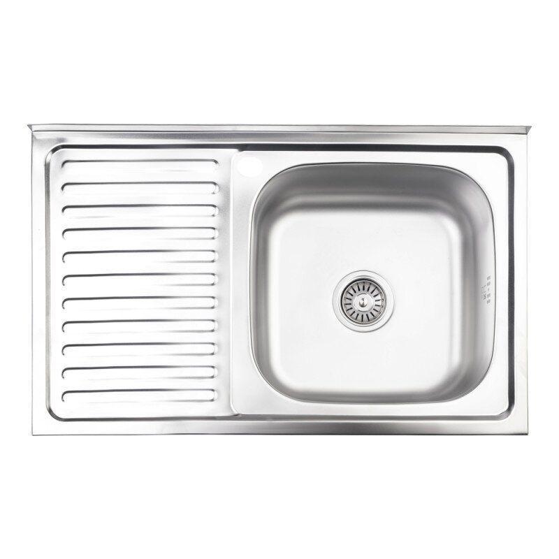 Мойка на кухню стальная прямоугольная LIDZ LIDZ5080RSAT8 800мм x 505мм матовая 0,8мм с сифоном 75406