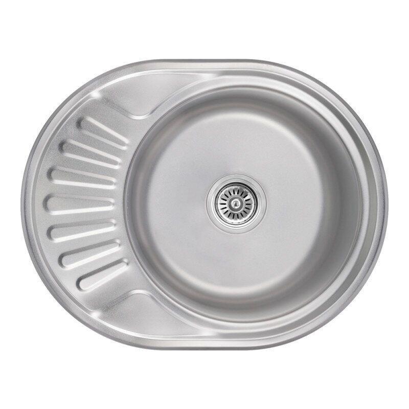 Кухонная мойка металлическая овальная LIDZ LIDZ5745SAT08 455мм x 570мм матовая 0,8мм с сифоном 75627