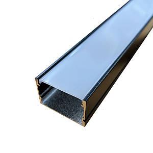 Комплект. Профиль для светодиодной ленты прямой черный 30х20 мм. ЛП20А Матовый анадированый