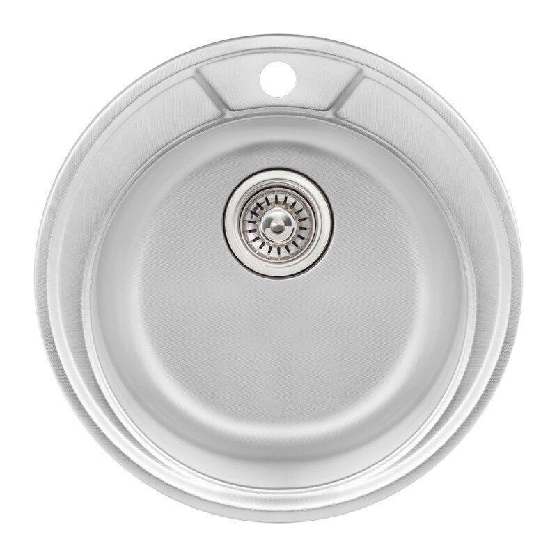 Раковина на кухню стальная круглая Q-TAP QTD490MICDEC08 490мм x 490мм микротекстура 0,8мм 76263