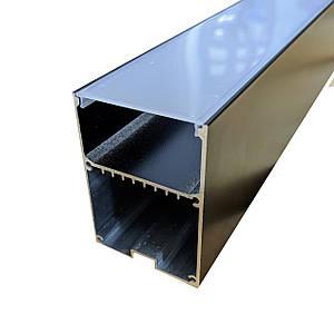 Комплект. Профиль для светодиодной ленты прямой черный 50х70 мм. LSB-50AB Матовый анадированый
