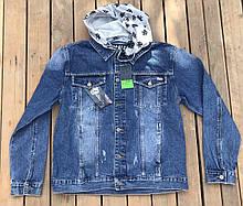 Чоловіча джинсова куртка с трикотажним капюшоном