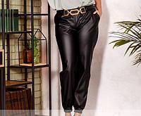 Жіночі брюки з еко-шкіри №306 (р. 50-60) чорний, фото 1