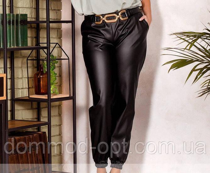 Жіночі брюки з еко-шкіри №306 (р. 50-60) чорний