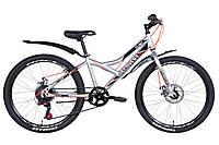 """Горный подростковый велосипед 24"""" Discovery FLINT DD 2021 (черно-синий с серым)"""