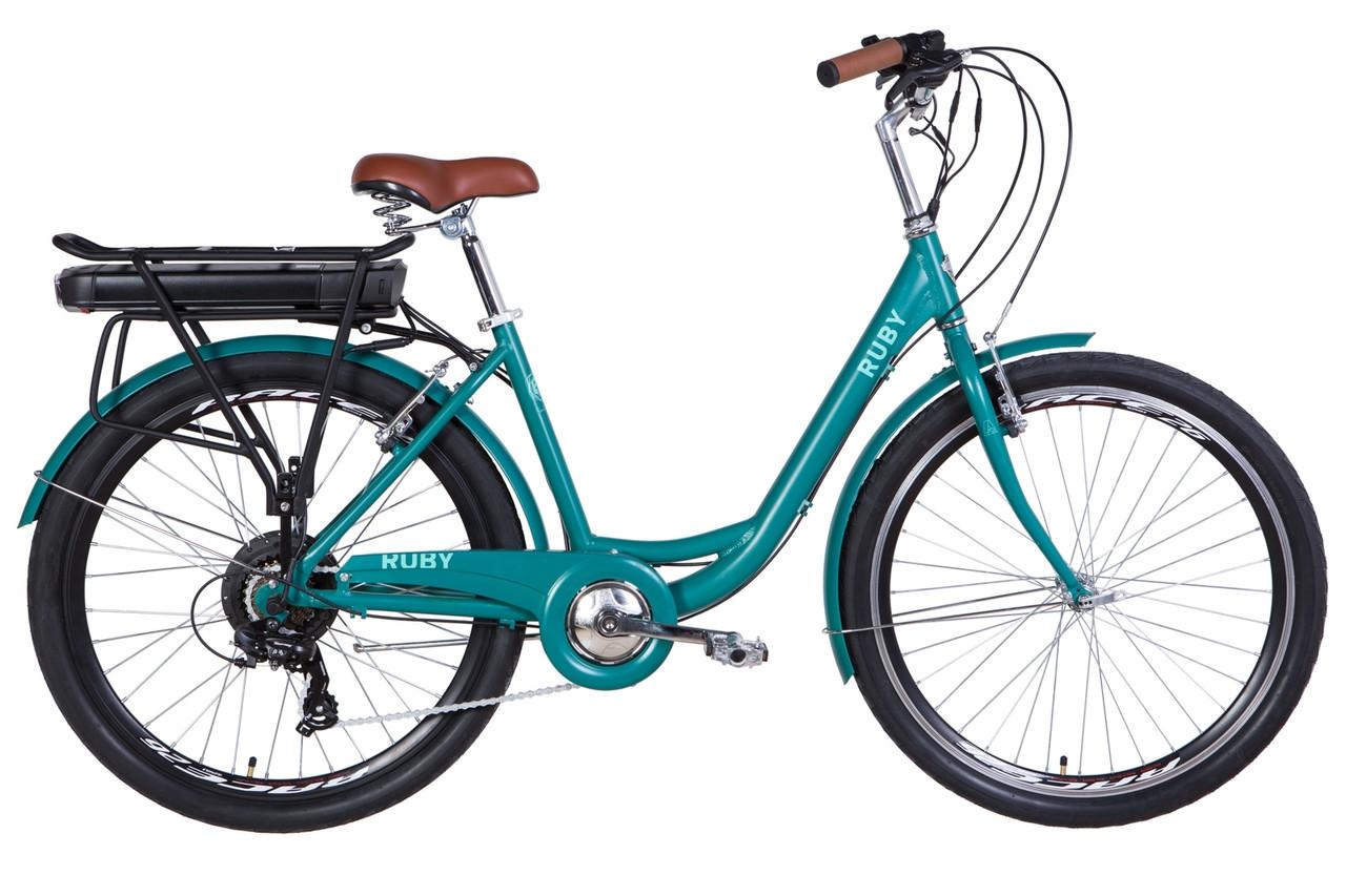 """Электровелосипед 26"""" RUBY 350Вт 36В редуктор. 12.5Ач с крепл. к багажн., дисплей, САП 2020 (изумрудный (м))"""