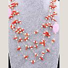 Бусы из натурального камня Коралл, Жемчуг, Розовый кварц 70 см , фото 2