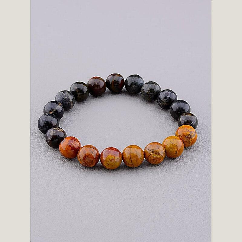 Браслет на руку на руку з натуральних каменів яшми на резинці SUNSTONES 18 сантиметрів довжина