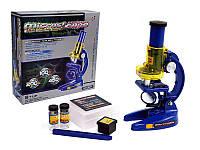 Дитячий розвиваючий Мікроскоп, пробірки, масштаб збільшення: 100Х, 200Х, 450Х, розмір 13х7х21см, синій-жовтий*