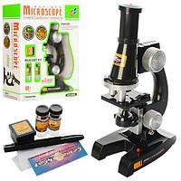 Дитячий розвиваючий Мікроскоп зі склом, пробірками, пінцетом, збільшення 100Х, 200Х, 450Х, розмір 13х7х21см
